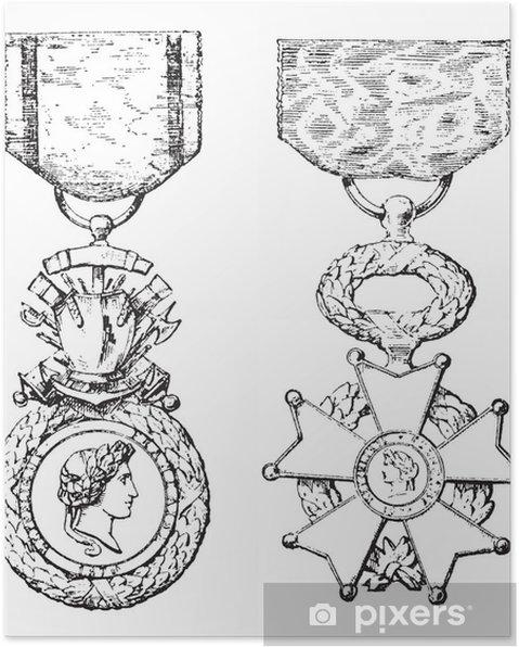Poster Medaglia Militare, Croce della Legion d'Onore, vendemmia, incisione
