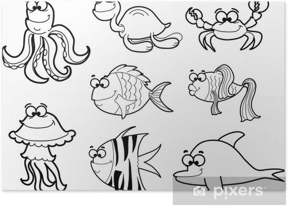 Poster Meerwasserfische, Vektor-Illustration - Unterwasserwelt