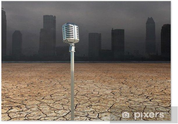 Poster Mikrofon in Dystopic Welt - Schwerindustrie