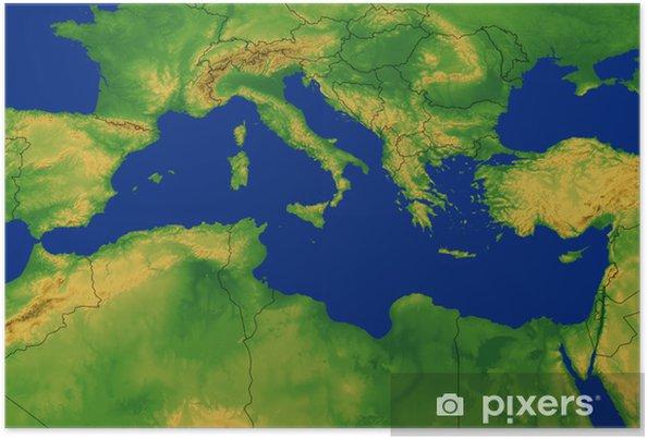 Mittelmeer Karte.Poster Mittelmeer Region Karte Mit Terrain