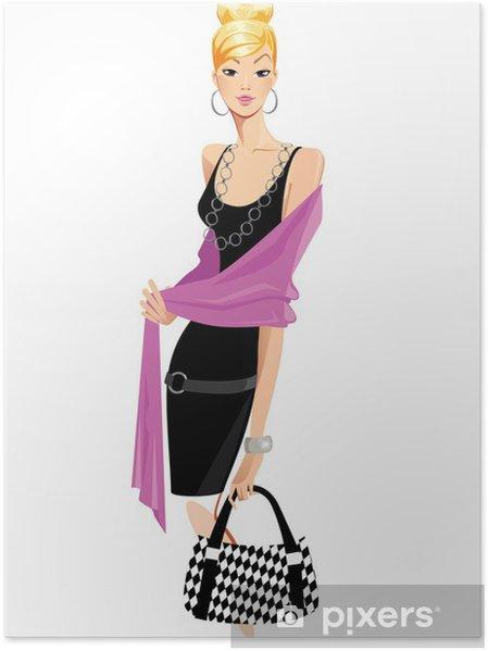 the latest 96fd6 33a4d Poster Moda donna in abito nero e scialle rosa