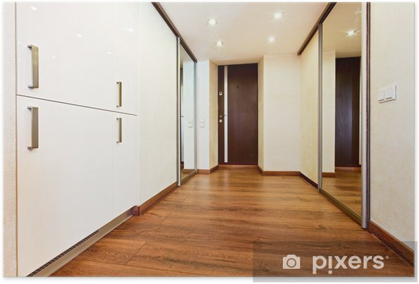 Poster moderne minimalismus stil korridor innenraum mit schiebetür