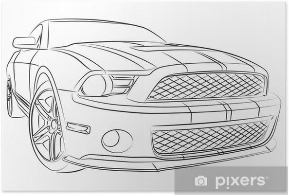 Poster Moderne Muscle Car Zeichnung Pixers Wir Leben Um Zu