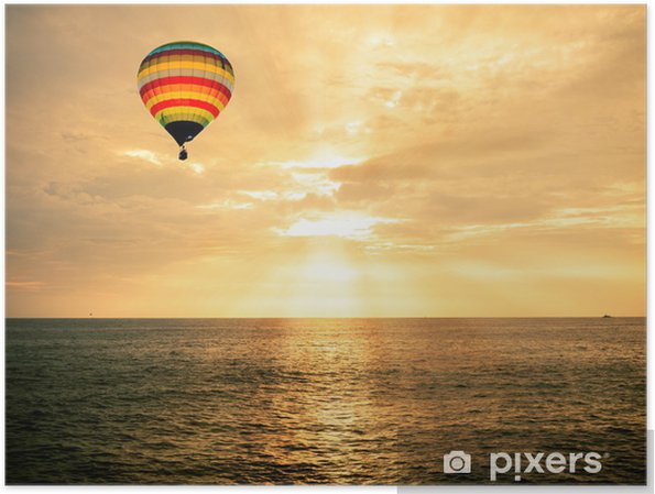 Poster mongolfiera sopra il mare al tramonto u2022 pixers® viviamo per