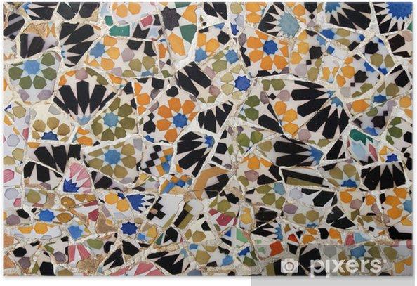 Poster Mosaik im Park Güell, Barcelona - Europäische Städte