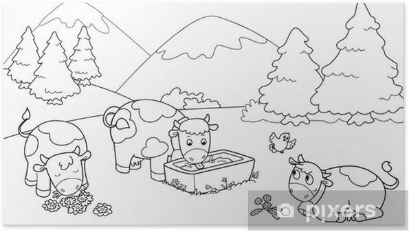 Poster Mucche In Montagna Illustrazioni Da Colorare Per Bambini