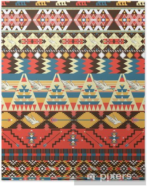 Poster Nahtlose bunte aztekischer Muster mit Vögeln, Blumen und Pfeil - Stile