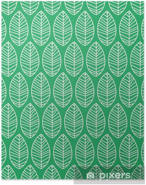 Poster Nahtlose Muster mit Blättern - Pflanzen und Blumen