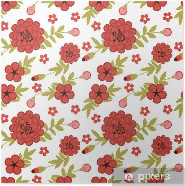 Poster Nahtlose Muster mit weiblichen Garten mit roten Blumen - iStaging 2