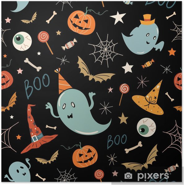Poster Nahtloses Muster Halloweens mit Hand gezeichneten Elementen, Geistern und Kürbisen, Vektor entwerfen - Grafische Elemente