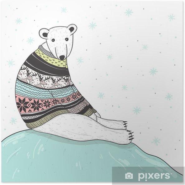 Poster natale simpatico orso polare con maglione giusto stile isola