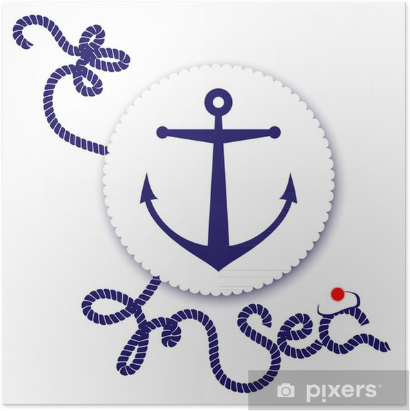 Poster Nautical Design, Anker - Boote