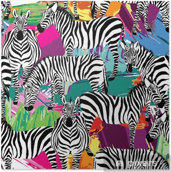 Poster Nero Zebra Ed Il Modello Bianco Pittura Sfondo Pixers