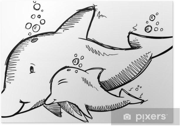 Poster Nette Dolphins Sketch Vector - Unterwasserwelt