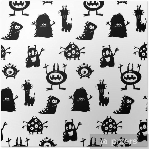 Poster Nette Monster Silhouetten Muster - Sonstige Gefühle