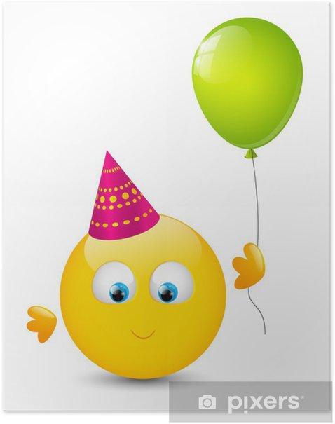 Poster Nette smiley mit glänzenden Ballons - Feste