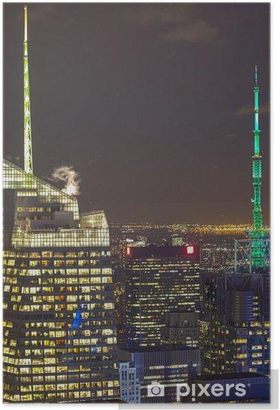 Poster New York City Luftaufnahme in der Nacht mit Wolkenkratzer Gebäude Sky - Sonstige