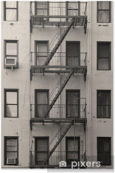 Poster New York City Wohnung Treppe Schwarz Und Weiss