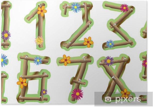 Poster Numeri Fiori e Legno-Holz und Blumen Zahlen-Vektor- - Naturwissenschaften