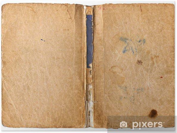 Poster Offenes Buch mit beschädigten Rückgrat - isoliert auf weiß - Texturen
