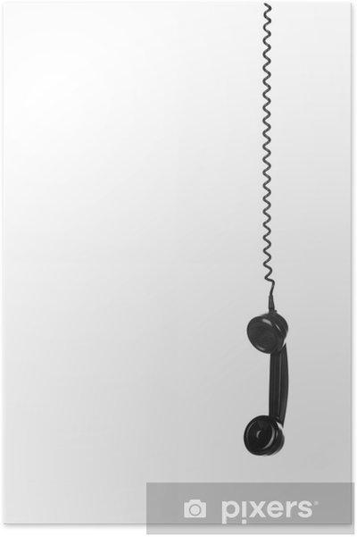 Poster Old Vintage Nero Telefono Isolato Su Sfondo Bianco Pixers