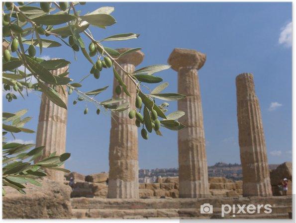 Poster Olivenzweig und griechische Spalte - Urlaub