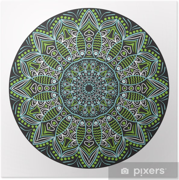 Poster Ornamentale pizzo rotondo, cerchio sfondo con molte detai - Adesivo da parete