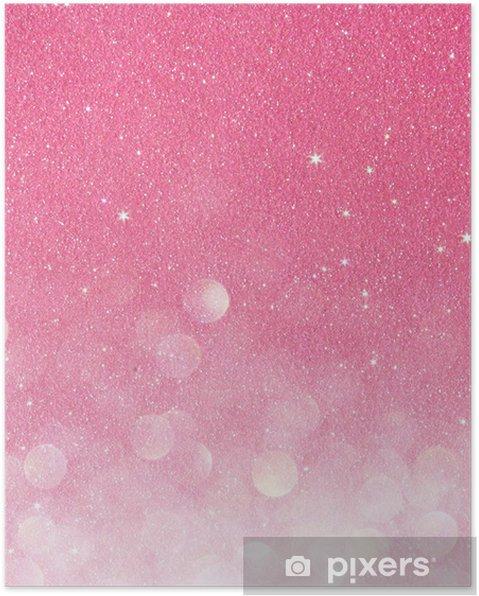 Poster Oro E Rosa Luci Bokeh Astratte Sfondo Sfocato Pixers