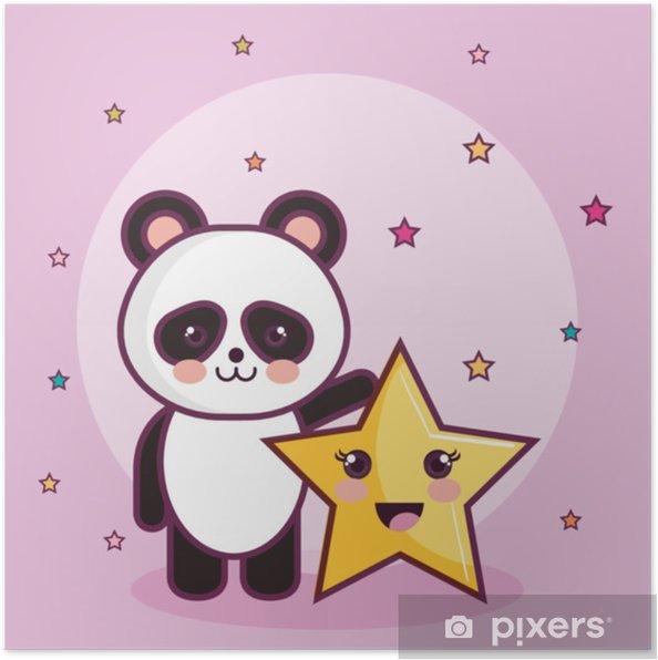 Poster Orso Panda Kawaii E Stelle Su Sfondo Rosa Illustrazione