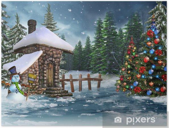 Immagini Paesaggi Natale.Poster Paesaggio Invernale Con Alberi Capanna Pupazzo Di Neve E Di Natale