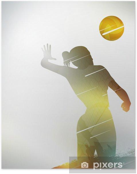Poster Pallavolo design piatto fondo - Pallavolo