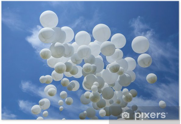 Poster Palloncini bianchi sul cielo blu - Felicità