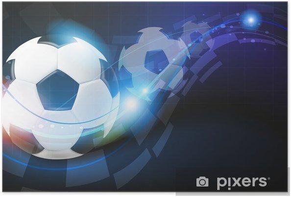 Poster Palloni Da Calcio Su Sfondo Blu Pixers Viviamo Per Il