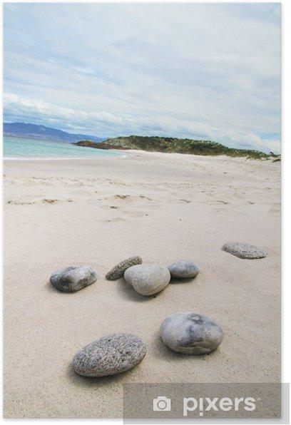 Poster Pebbles auf Sand - Wasser