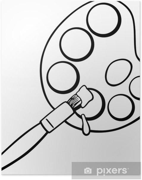 poster pinsel und palette clip art malvorlagen • pixers