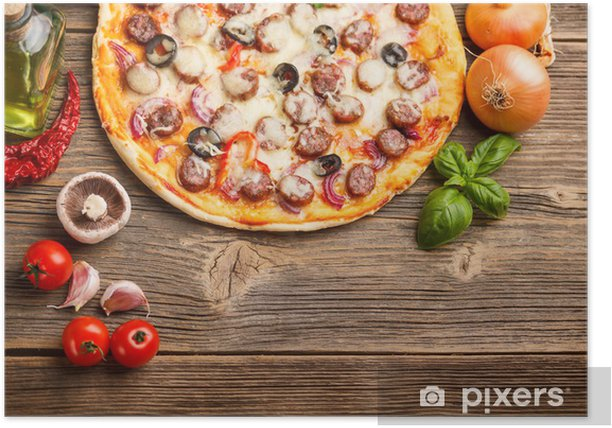 Poster Pizza mit Zutaten - Themen