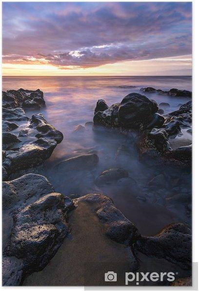 Poster Plage de l'Etang Sale au coucher de soleil - Insel Réunion - Wasser