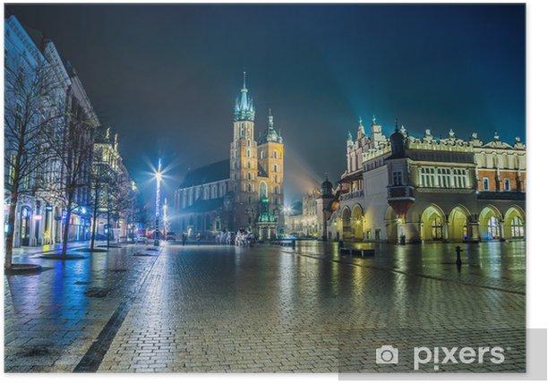 Poster Polonia, Cracovia. Piazza del Mercato di notte. - Temi