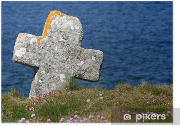 Poster Porspoder, Finistere, Bretagna croce celtica - Religioni