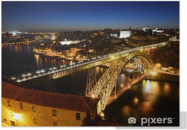 Poster Porto Altstadt Nacht Sicht, Porto, Portugal - Europa