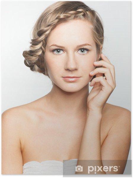 Poster Portrait Der Jungen Frau Mit Zopf Frisur