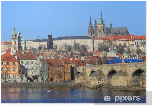 Poster Prag-gotisches Schloss mit der Karlsbrücke, Tschechische Republik - Europa