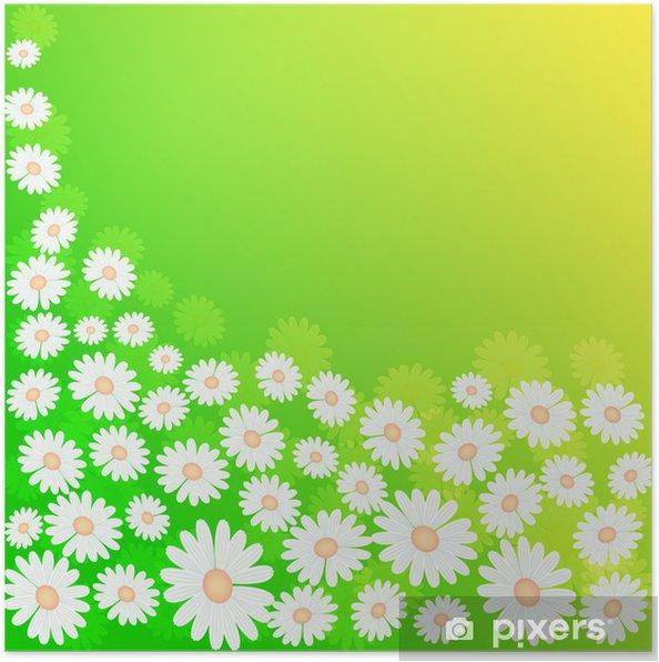 Poster Primavera Sfondo Verde Prato Con Fiori Pixers Viviamo
