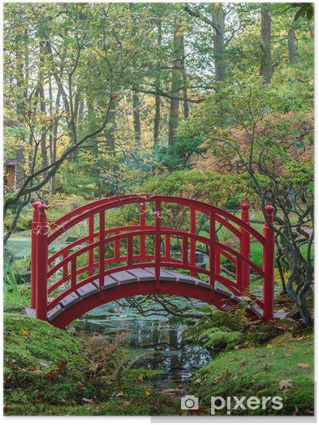 Poster Red Japanische Brücke In Einem Herbst Garten Pixers Wir