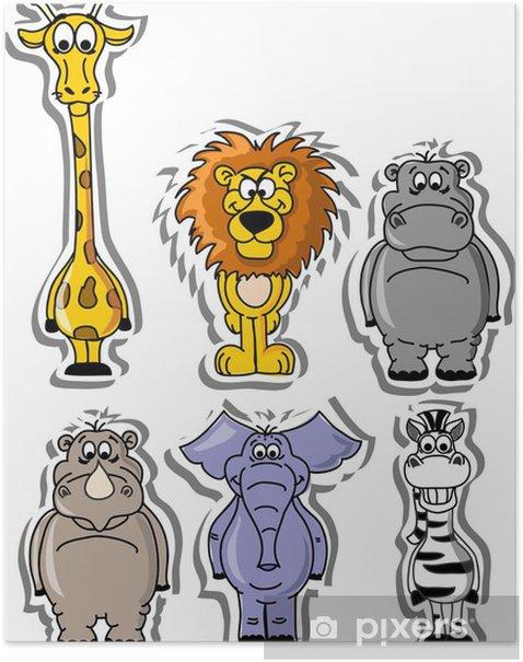 Poster Reihe von Comic-Tieren - Säugetiere