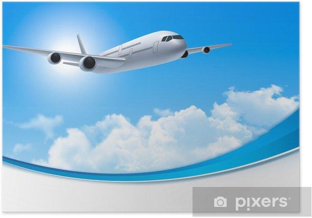 Poster Reisen Hintergrund mit einem Flugzeug und weißen Wolken. Vector. - Himmel