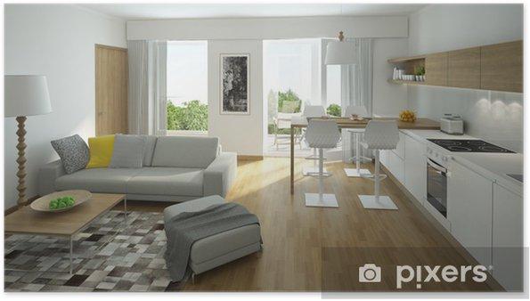 Poster Rendering di un moderno soggiorno con cucina a vista