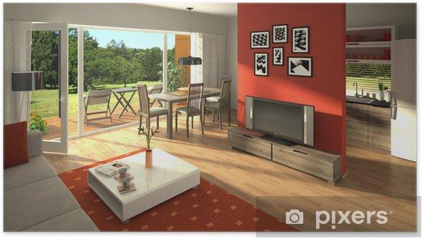 Poster Rendering von einem modernen Wohnzimmer mit offener Küche