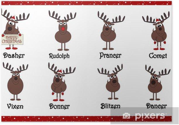 Renne Di Babbo Natale Nomi.Poster Renne Cartoon Babbo Natale Con I Nomi Pixers Viviamo Per Il Cambiamento