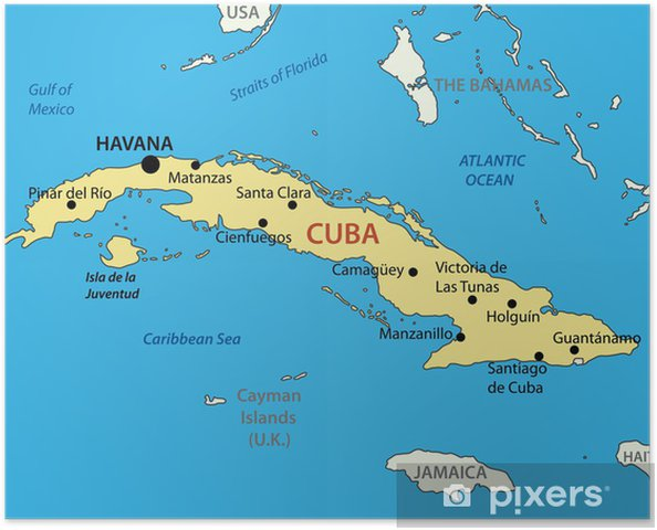 Karte Kuba.Poster Republik Kuba Vektor Karte